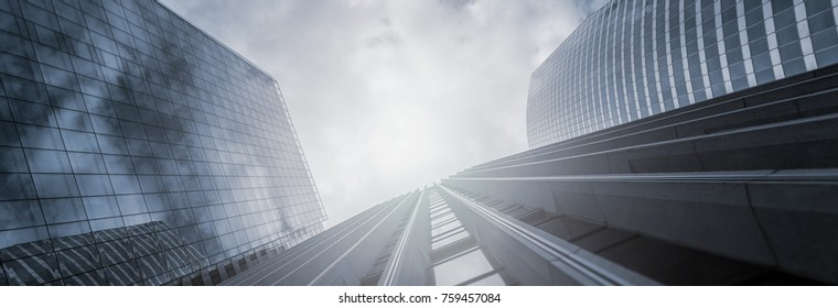 Modern office buildings skyscrapers in a business district, including copy space, banner size