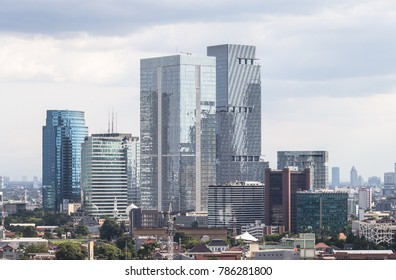 Modern office buildings in the South Business District along the Gatot Subroto highway in Jakarta in Indonesia capital city. Jakarta is a major financial center in Southeast Asia with a strong growth.