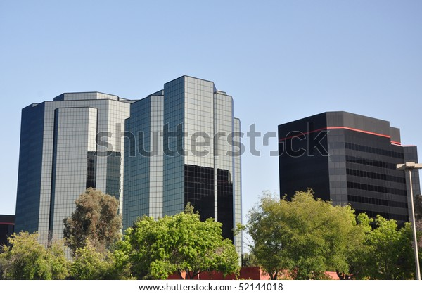 Modern Office Buildings Trees Foreground Stock Photo (Edit Now ...