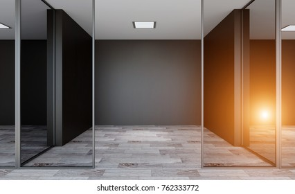 Modern office Cabinet. Meeting room. 3D rendering.. Lights in the window.