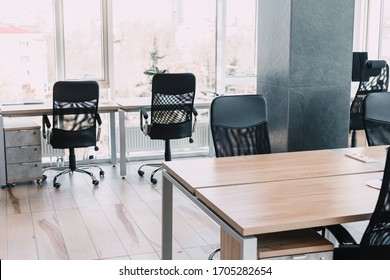 modern office chair near the desktop with office. new workplace concept