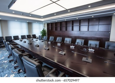 The modern office of the conference room can accommodate a lot of people before the meeting