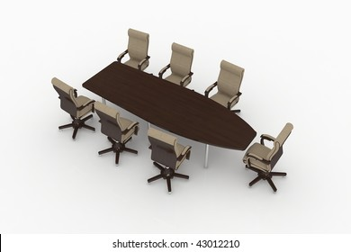 modern office furniture isolated on a white
