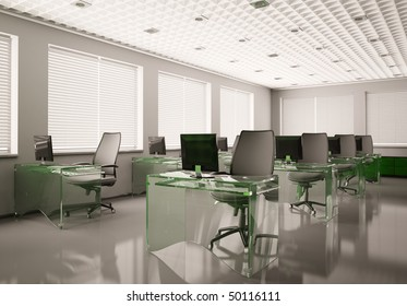 Modern office with glass tables interior 3d render