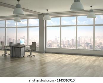 Modern office interior. 3D render