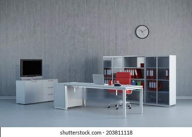 Modern office interior with business desk and furniture