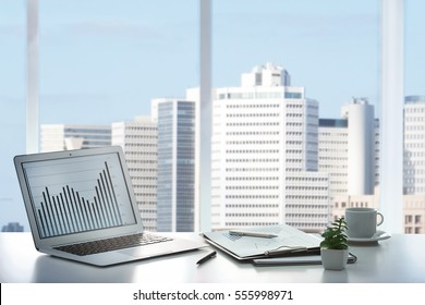 Modern office interior and cityscape view through window