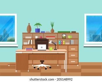 Modern office interior with designer desktop in flat design. Modern business workspace in the office with window. Raster version