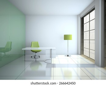 Modern office interior with glass wall 3D rendering