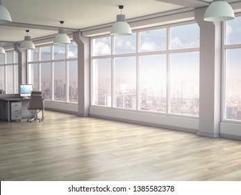 Modern office interior with panoramic windows. 3D render