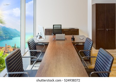 modern office interior with panoramic windows overlooking the sea