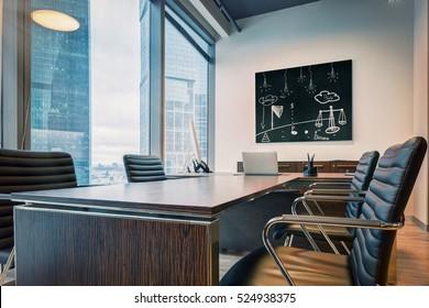 modern office interior with panoramic windows