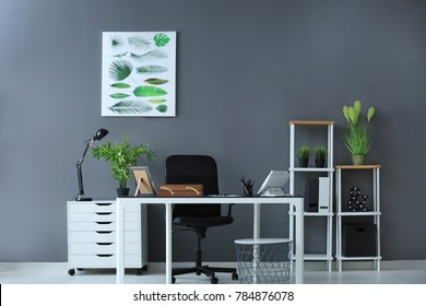 Modern office interior with plants