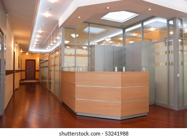 Modern Office Interior   Reception And Perspective Of Corridor