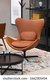 Modern office leather brown swivel egg chair, fashionable design comfortable chair shape.