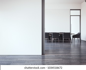 Modern office meeting room with bright walls. 3d rendering