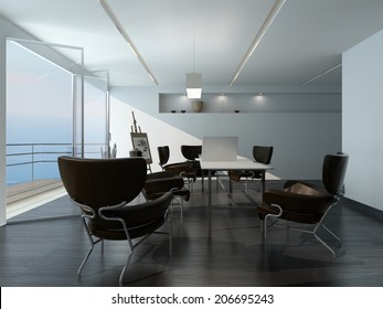 Modern office meeting room interior with stylish contemporary armchairs around a table, easel in the corner and large view window overlooking the sea