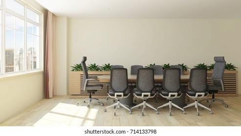 Modern office meeting room interior with huge windows overlooking urban city view- 3d rendering mock up