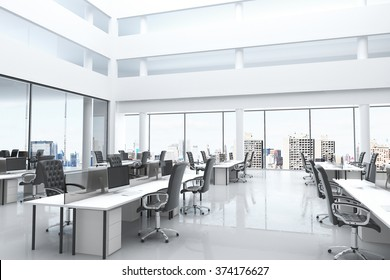 Modern office with open space and large windows 3D Render