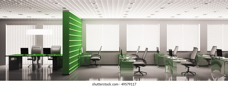 Modern office panorama with computers interior 3d render