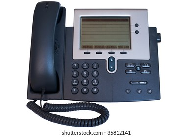 modern office phone isolated on white