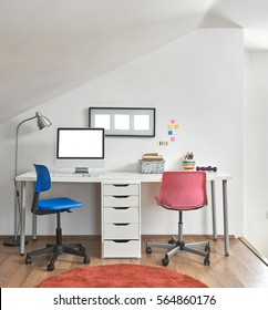 modern office room detail vertical banner behind white wall decoration concept