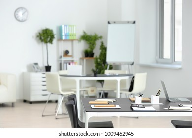 Modern office room prepared for business meeting