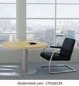modern office room with urban skyline