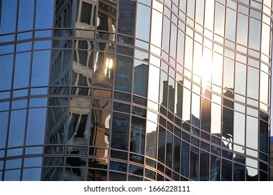 modern officebuilding with sun reflecting