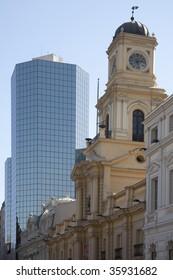 Modern and older buildings in Santiago de Chile