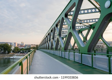 A modern old-new bridge for pedestrians, cyclists and trams over the river Danube in Bratislava, Slovakia