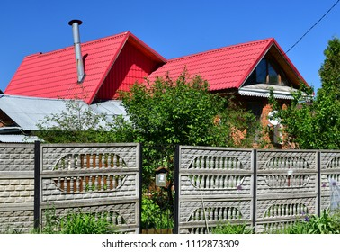 modern one-storey house outside the fence of Russia