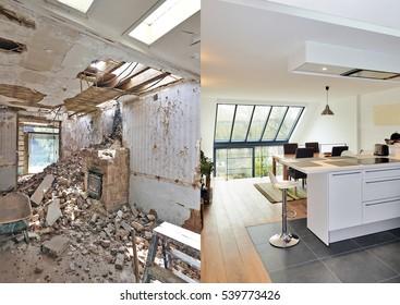 Moderne offene Küche in renoviertem Haus mit Blick auf einen üppigen Garten, vor und nach dem