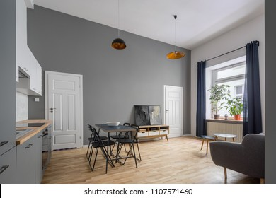 Modern, open plan apartment in gray with kitchenette and simple table
