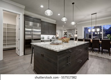 Modern open plan gray kitchen features dark gray cabinets paired with granite countertops. Open door to a pantry. Northwest, USA
