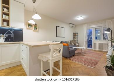 Modern open plan living room, apartment