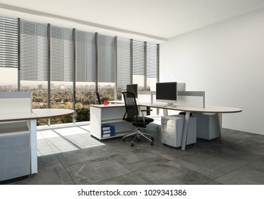 Modern open plan office with large windows and multi seat workstations around table style desks. 3d Rendering.