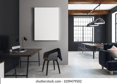 Modern open space interior with furniture and empty poster. Mock up, 3D Rendering