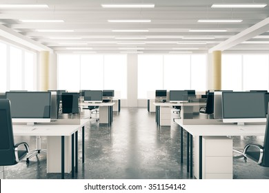 Modern open space loft office with furniture, concrete floor, big windows and pillars 3D Render