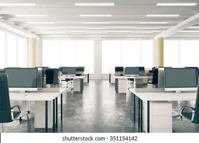 Modern open space loft office with furniture, concrete floor, big windows and pillars 3D Render
