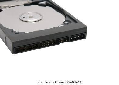 modern opened hard disk drive on white