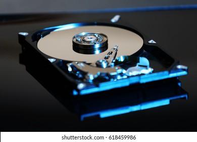 modern opened hard disk drive