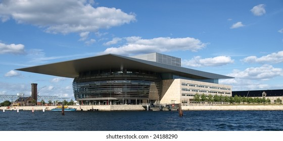 A modern opera house in Central Copenhagen, Denmark.