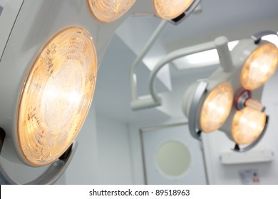 Modern operating theater lights in a new surgical room