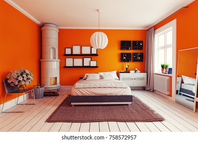 modern orange bedroom with  classic  swedish stove. 3d concept rendering