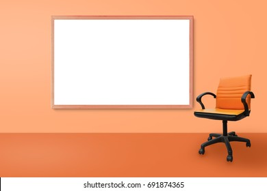 Modern Orange Chairs Standing With Black Board In Interior Empty Orange  Room For Copy Space,