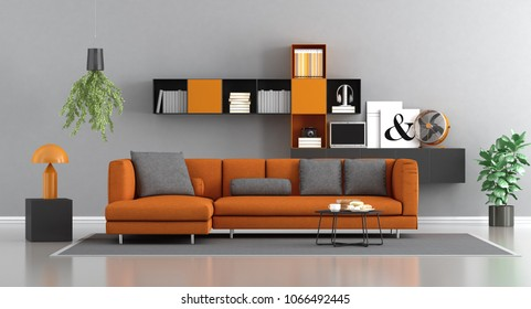 Modern orange and gray living room with sofa and bookcase on background - 3d rendering