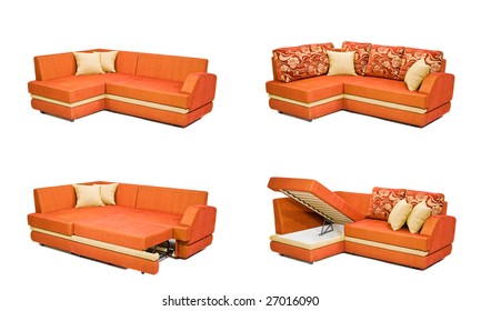 Modern orange sofa isolated on white