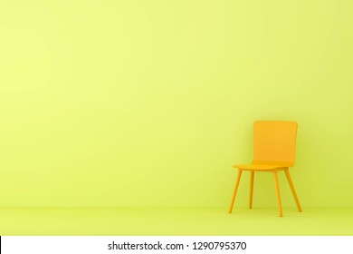 modern orange sofa in yellow living room. Minimal style concept. pastel color style.
