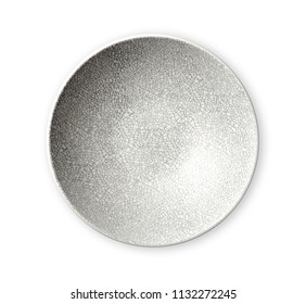 Modern oriental ceramic plate in cracked pattern, Empty plates, View from above isolated on white background with clipping path